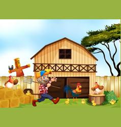 Farmer working on the farm vector