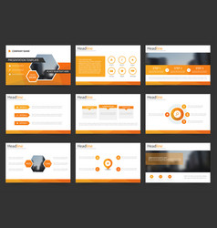 Orange abstract presentation templates infographic vector