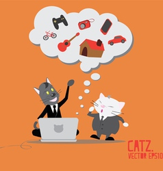 Cat business thinking dreams on computer vector