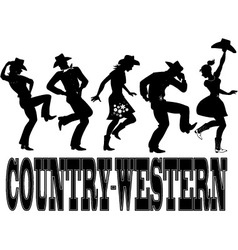 Country-western dance silhouette banner vector