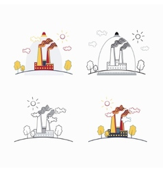 Industrial factory buildings icons vector