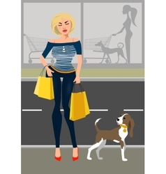 Fashionable woman with a dog near the shop vector