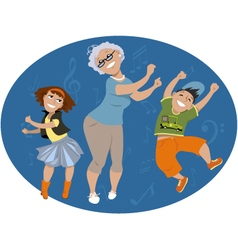 Dancing with grandma vector