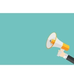 Hand with megaphone and place for your text vector