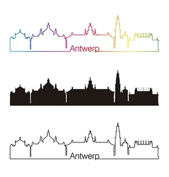 Antwerp skyline linear style with rainbow vector