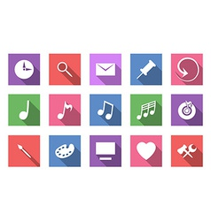 Art and musical flat icon set vector image vector image