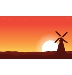 At sunset windmill beautiful scenery vector