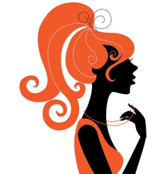Beautiful girl silhouette profile vector image