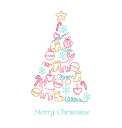 Christmas Card - Christmas Tree with Elements vector image