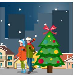 couple winter city landscape vector image vector image
