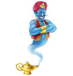Evil genie and magic oil lamp vector