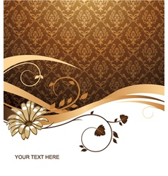 flower with damask background vector image vector image