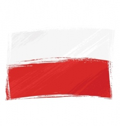 grunge poland flag vector image vector image