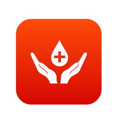 hands holding blood drop icon digital red vector image vector image
