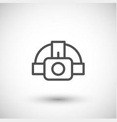 head flashlight line icon vector image