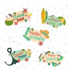 Hello summer Retro emblems vector image vector image