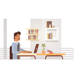 Indian business man sitting desk working laptop vector