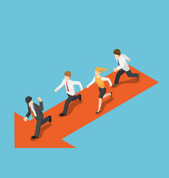 isometric businessman run following leader vector image