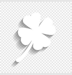 Leaf clover sign white icon with soft vector