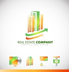 Real estate skyscraper building logo icon design vector