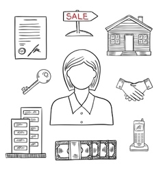 Realtor profession sketch for real estate design vector image vector image
