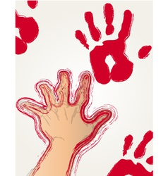 Red paint hand print vector