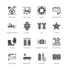 Scuba diving snorkeling flat glyph icons vector
