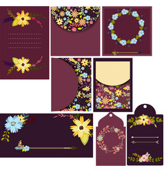 Set of beautiful templates for cards wedding vector