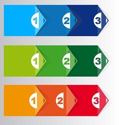Set of three version paper progress steps vector image