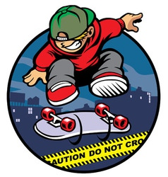 Skater boy doing kickflip over police line vector