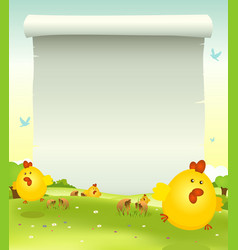 spring easter chicken background vector image