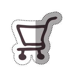 sticker hand drawing supermarket shopping cart vector image