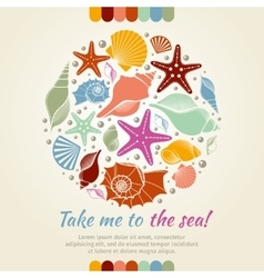 Summer concept with shells and sea stars vector image