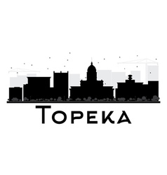 Topeka City skyline black and white silhouette vector image vector image