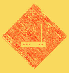 Wifi modem sign red scribble icon vector