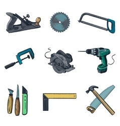 Woodworking industry and tools icons - icon vector image