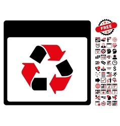 Recycle calendar page flat icon with bonus vector