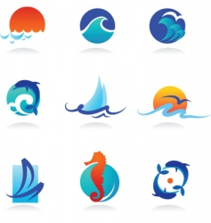 nature logos 02 sea theme vector image