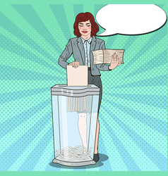 pop art secretary woman destroying paper documents vector image