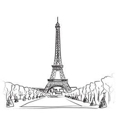 paris city landscape famous landmark eiffel tower vector image
