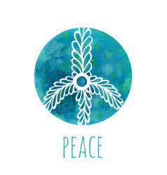 Watercolor background with peace sign music and vector