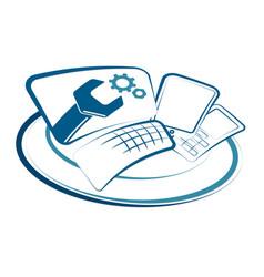 Service of smartphones and computers vector
