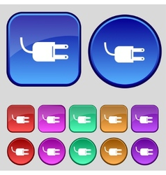 Electric plug sign icon power energy symbol set vector