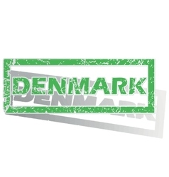 Green outlined denmark stamp vector