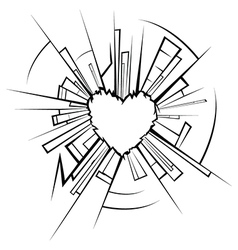 Broken glass and heart vector
