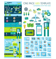 One page website flat ui design template vector