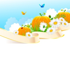 Summer ribbon pumpkin vector