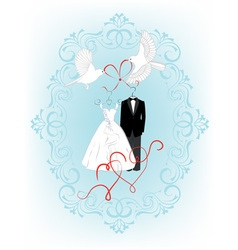 Wedding invitation with bride and groom dress vector