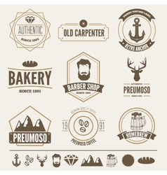Retro vintage insignias set design vector