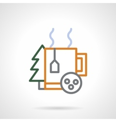 Winter holidays tea color line icon vector